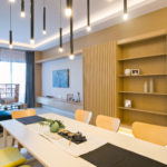 Muse by the sky - Bespoke timber wall feature wall panel with camouflage door access to bedrooms- Be In Design Solutions Sdn Bhd