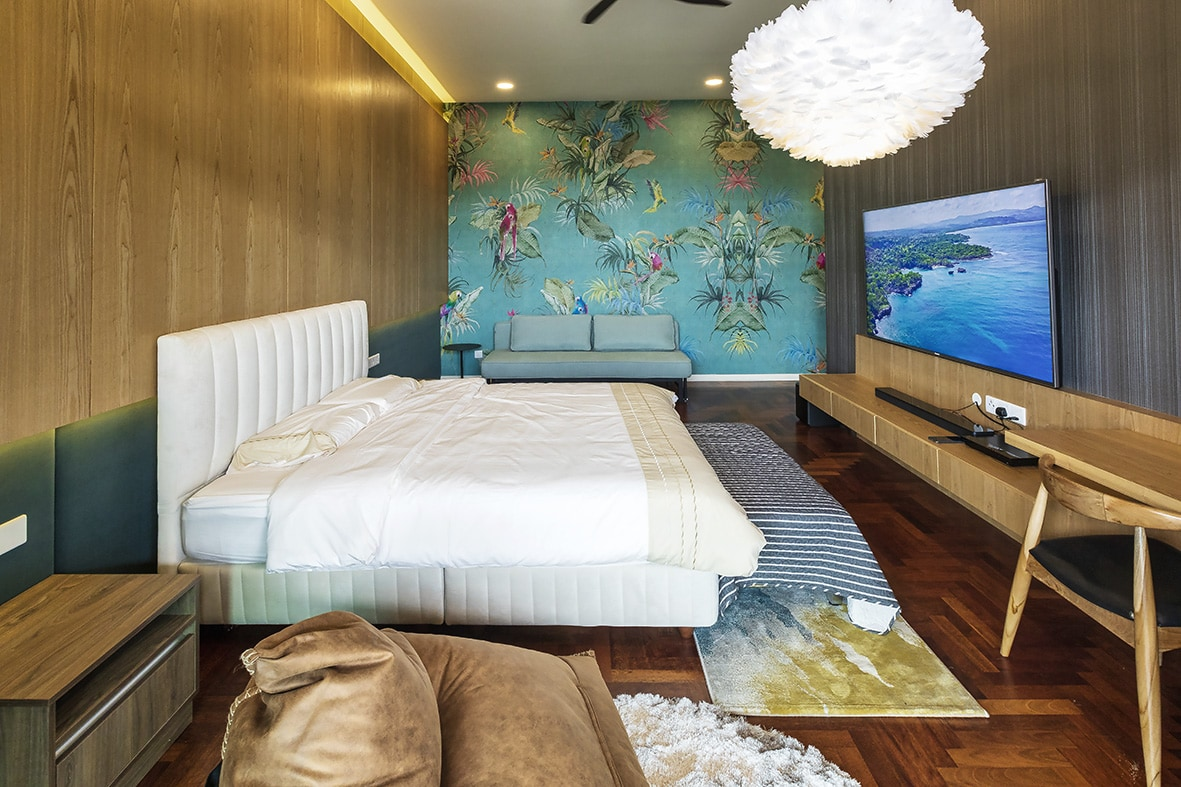 Vista Residences Penthouse Design – Bespoke mural wall paper feature wall – Be In Design Solutions Sdn Bhd